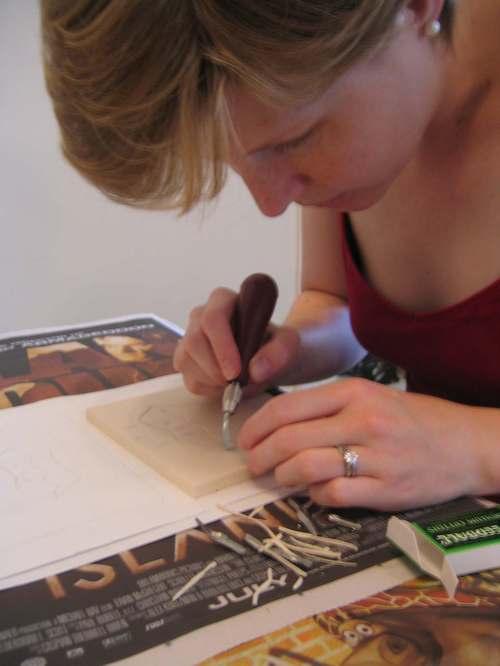 Erin carves
